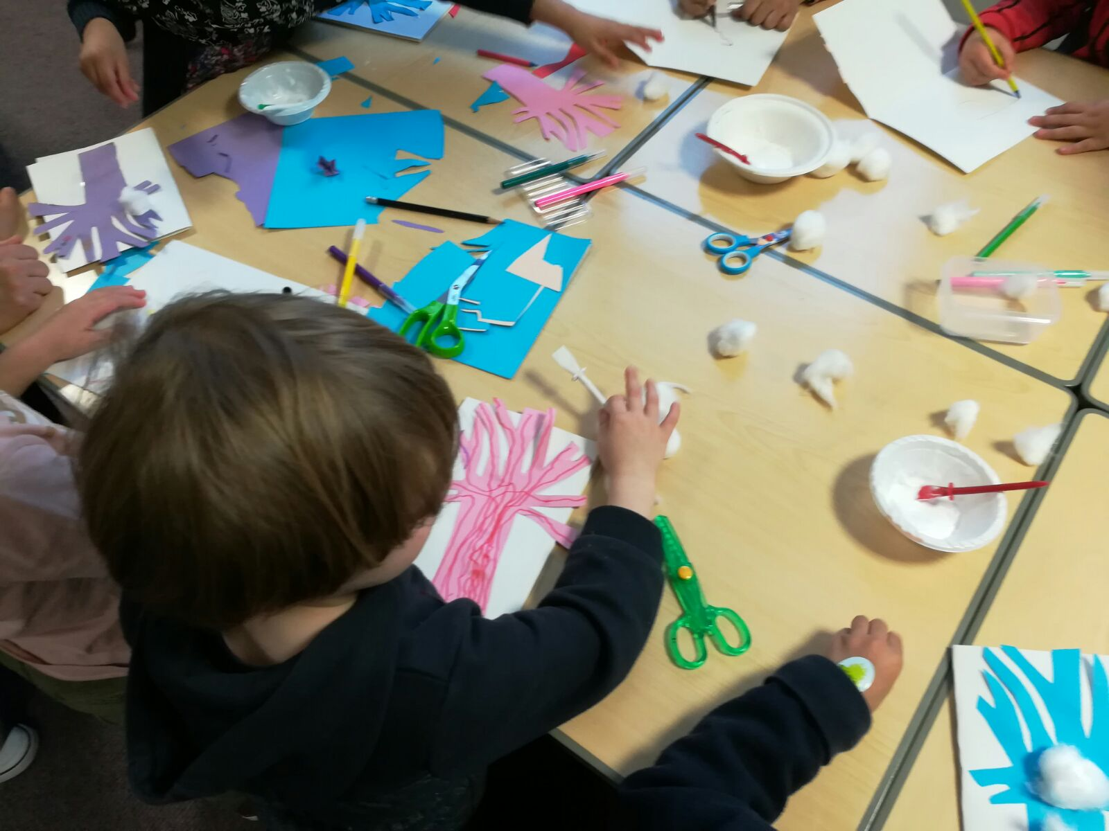The younger group making winter tree